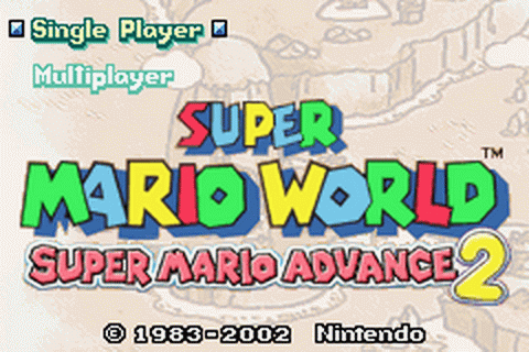 Super Mario Advance 2 - Super Mario World title screenshot