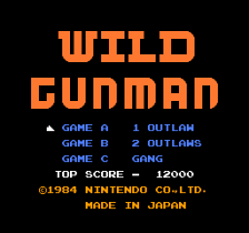 Wild Gunman title screenshot